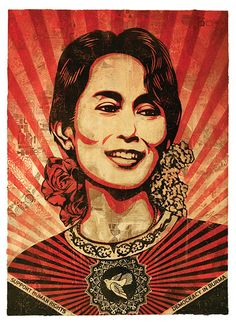 """My friend Jack Healey, who used to run Amnesty, really liked the Obama poster, and in early 2009 he said: 'You really should make a poster of Aung San Suu Kyi.' I made 80,000 of these stickers, and 6,000 posters, and a lot of them were smuggled over to Burma. You never know how much influence anything has. So it was nice to meet her recently and hear her say that it was helpful."""