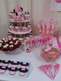 Minnie Mouse Birthday Party cupcakes and cookies! See more party planning ideas at CatchMyParty.com!