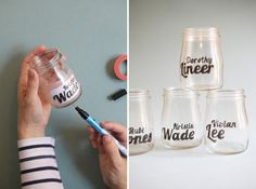 Glass Jar Typography - tape the paper inside and then trace with glass paint pen - Oh my trendy!
