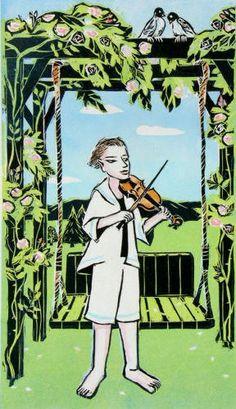 Roses and Violin Woodblock Original Art Print - Mari Toma