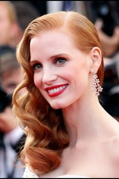 jessica chastain, inspiration, weddings, cannes film festival, bridal hairstyles, wedding hairs, beauti, beauty, retro hairstyles