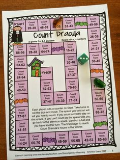 The Count Dracula Board Game has children count their way around the board. From Halloween Math Games First Grade $