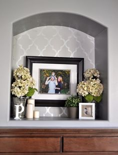 Decorating nooks & crannies. Idea: base coat matte, stencil in high gloss