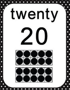 Number Ten Frames 0 to 20 - Polka Dots in Black