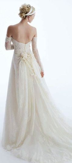 Google Image Result for http://weddinggownssquare.com/wp-content/plugins/jobber-import-articles/photos/120266-off-the-shoulder-wedding-gown-style-4.jpg Lace Wedding Gowns, Bridal Collection, Lace Wedding Dresses, Bridal Dresses, Vintage Lace, Bridal Headpieces, Dress Wedding, The Dress, Stunning Wedding Dresses