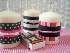 Simply wrap the candles with strips of paper - you can use scrap booking paper, wrapping paper, pages from old books etc. Affix the paper with double sided tape, and tie a piece of ribbon around the middle. Kids could embellish the candles with all types of details - buttons, stickers, chip board accents - to put their own stamp on the project! Candles are relatively inexpensive if bought in bulk or on clearance if it is a group project.