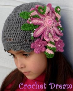 """vintage"", gorro para niña tejido a crochet"