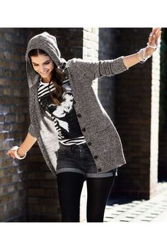 Barbara Palvin for H & M. kinda love the hoodie-cardigan thing... I would totally wear this!