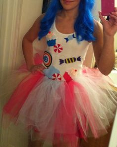 Katy Perry: Blue hair. Make candy and cupcakes out of felt, then sew or iron on to a shirt. Make a tu-tu! Cheap & easy.