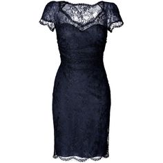 EMILIO PUCCI Draped Lace Overlay Dress in New Navy ($1,925) ❤ liked on Polyvore