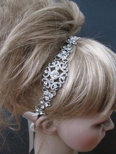 Crystal wedding headband,bridal hair accessories,bridal headband ribbon,bridal headpieces, Bridal Ribbon Rhinestone Headband,bridal headband. $38.00, via Etsy.