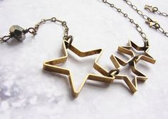 Star necklace - open star silhouette necklace modern geometric necklace, simple everyday brass jewelry on Etsy, $26.50
