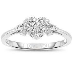 2 CTW Platinum-Plated Heart-Shaped Created Diamond Ring
