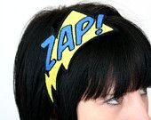 Headband, ZAP, Superhero Headband, Yellow and Red. £15.00, via Etsy.