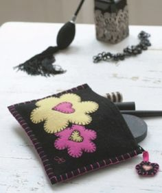 felt applique makeup bag
