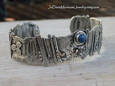 Unique artisan Cuff  - sterling silver with touches of 14k gold metalwork with denim lapis by JoDeneMoneuseJewelry