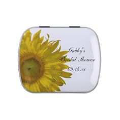 The pretty Yellow #Sunflower Bridal #Shower Favor Candy Tin is filled with delicious Jelly Belly Candies! Feel free to choose your favorite flavor of jelly beans or mints! Customize it with the personal name of the bride to be and specific marriage wedding shower date. This cute and custom botanical shower favor features a yellow sunflower blossom with a white background. #showerfavors #favors #bridalshower #sunflowers