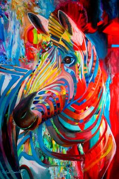 zebra hors, oil paintings, robert doesburg, animal paintings, the artist, color zebra, rainbow colors, colorful painting, zebras