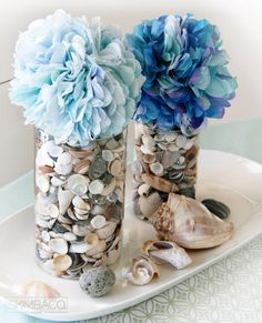 Fragranced Coffee Filter Flower Pom Pom Tutorial and a great beach themed table center piece. paper craft, coffee filter crafts, craft idea, coffee filter flowers, diy coffee filter pom poms, hydrangea, flower tutorial, coffee filters, coffe filter