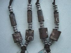 Tube beads from Newspaper.