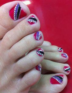 Rhinestone toenail art