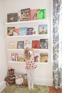 Love the book shelves. They are picture ledges from Ikea.