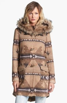 BB Dakota Faux Fur Trim Patterned Anorak