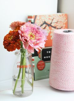 baker twine, books, zinnias, table flowers, glasses, color, office home, bakers, cut flowers