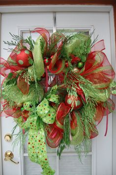Christmas Wreath deco mesh green and red by HangingTouches on Etsy, $113.40
