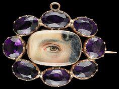 lover eye, brooches, gold brooch, facet amethyst, eye jewelleri