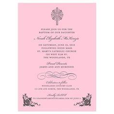 Cross with Ornate Corners Pink Baptism Invitation