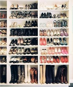 Dressing Room Inspiration:  Fabulous Shoe Storage Solutions (Billy book cases Ikea)