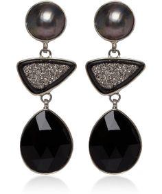 Stephen Dweck Black Pearl, Druzy, and Agate Drop Earrings
