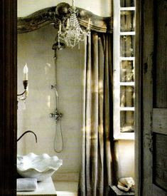 Love the shower frame and curtain idea...very elegant!