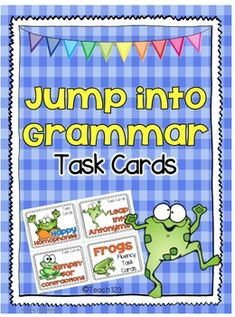 Jump into Grammar Task Cards: Homophones, Antonyms, Contractions, and fluency with a frog theme.  $