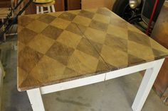 How to create this Stenciled Wood table using Minwax Walnut Stain and Tung Oil.