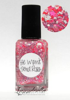 Lynnderella Limited Edition—He Won't Send Roses has pink, red and white glitters with matching microglitters in a multi-shimmered clear base.