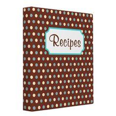 Retro Dot Recipe Binder from http://www.zazzle.com/cookbook+binders