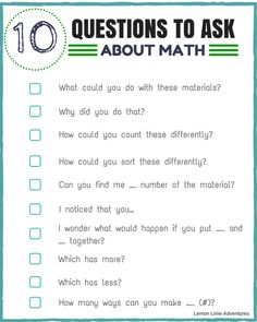 Looking for simple ways to encourage math thinking with your learner? These 10 Questions are great for any age, any grade, and any skill level.