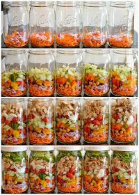 Mason Jar salads look easy and yummy!  Think I will prep these on Sunday for my week day lunches.