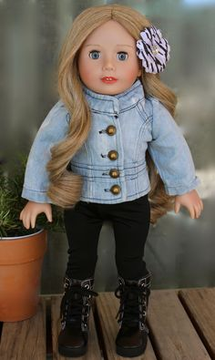 For American Girl Dolls. Light Blue Denim Jacket Outfit with leggings & boots. Find this trendy American Girl Doll Outfit and others at www.harmonyclubdolls.com