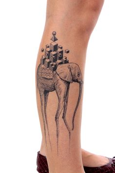 graphic design, leg tattoos, salvador dali, geometric tattoos, a tattoo, atattoo, tattoo ink, elephant tattoos, elephant theme