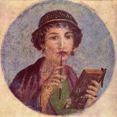 So-called Sappho, fourth style fresco; Pompeii, Region VI, Insula occidentalis. A young woman is shown with a pen (stylus) that is used to enscribe writing on the wax tablets she is holding. The net in her hair is made of golden threads and typical for the fashion of the Neronian period.