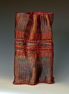Frances Solar   FSolar-Vessel 7. Loom woven, copper wire, copper strip