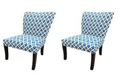 Pair Carnival Chairs, Blue on OneKingsLane.com. Paint legs white