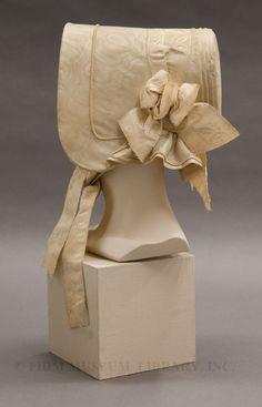 1840 cream silk bonnet.