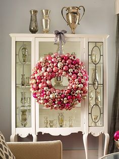 Pink Oversize Ornament Wreath for indoor use. | #christmas #xmas #holiday #decorating #decor