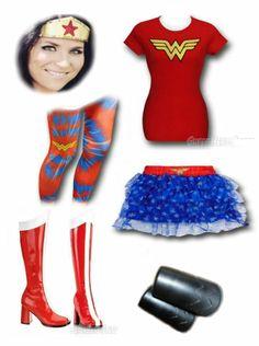 "EASY COSPLAY: ""Wonder Woman Inspired Outift"" by Korri Burkert. Wonder Woman All-over Print Women's Tutu, Tights: http://www.superherostuff.com/wonder-woman/leggings/wonder-woman-symbol-tie-dye-womens-footless-tights.html?itemcd=tightwwtiedye Boots: http://www.superherostuff.com/wonder-woman/boots/wonder-go-go-woman-boots-3-inch-heel.html?itemcd=bootswwgogo305 Tiara: https://www.etsy.com/listing/151096619/wonder-woman-tiara Bracers: https://www.etsy.com/listing/150580902/wonder-woman-bracers"