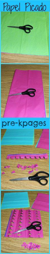 Easy DIY Tissue Paper Banners {Papel Picado} for Cinco de Mayo in preschool and kindergarten