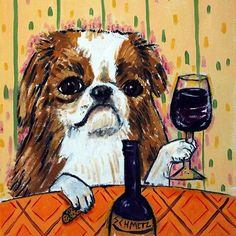 japanese chin at the wine bar dog art tile coaster gift